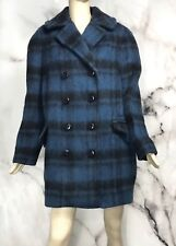 COACH Women's Plaid Long Blue  Peacoat Size L 60s Mad Men Style $675