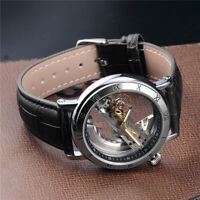 Luxury Men's Skeleton Leather Steampunk Automatic Mechanical Wrist Watch Black
