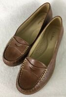 LL Bean Signature Penny Loafers Women's Brown Leather Slip-Ons Moccasins Size 7M