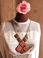 """480 #Gorgeous Necklace """" Bronze Coral """" Metal and Glass Beads Period Vintage"""