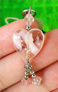 14x14x6mm Pink Millefiori Glass Love Heart Phone Accessories Chain AP15035