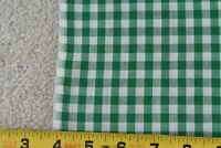 """By 1/2 Yd, 36"""" Wide, Vintage 1940's-60's, Green 1/4"""" Cotton Gingham, P3654"""