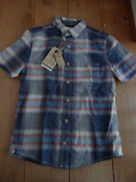 FAT FACE BLUE RED HERNE LARGE CHECKED SHIRT XS MEN TEEN SHORT SLEEVED