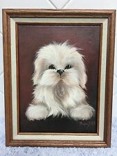 Original Shih Tzu Puppy Dog Painting Canvas Wood Frame Animal Lovers