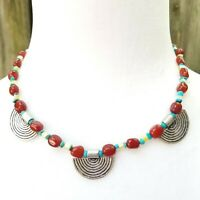 """Vintage Southwestern Carnelian, Turquoise, and Shell Rainbow Bead 17"""" Necklace"""