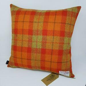 Orange Autumn Harris Tweed wool check handmade quality cushion cover all sizes