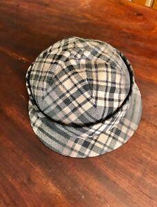 Bottega Veneta black & grey wool Plaid Cap Hat L