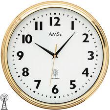 AMS 5963 Wanduhr Funk Funkwanduhr analog messing farben golden rund mit Glas
