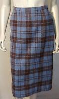 Vintage Wool Pencil Skirt Blue Brown 4 6 8 Plaid Straight Knee Length Lined