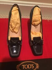 TOD'S Italy Black Patent Leather Swing Selleria High Heel Pump Loafer Woman 6.5