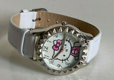 NEW! SANRIO HELLO KITTY SILVER BEZEL WHITE LEATHER STRAP WATCH SALE