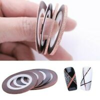 4 Rolls Rose Gold Nail Art Striping Line 1/2/3mm Tape Stickers Decoration EAN