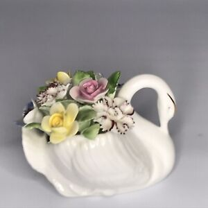 Royal Daulton bone china Swan with Bouquet of flowers