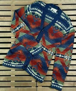 Rare Men Ralph Lauren Denim Supply Aztec Southwestern Indian Cardigan Sweater L