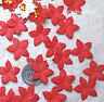 100 Red Mulberry Paper Christmas Poinsettias Flower Scrapbook Wreath Gift Cards