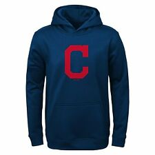 Cleveland Indians Youth Boys Pullover Hooded Performance Sweatshirt - Navy