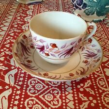 English Ornate Pink Floral Bute Cup and Saucer C1800 Poss New Hall Patt 199