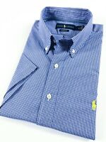 Ralph Lauren Shirt Men's Short Sleeve Blue Poplin Gingham Mini Check Classic Fit