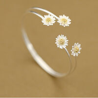 925 Silver Delicate Charm Daisy Flower Bangles & Bracelets For Women Party Gift