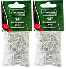 2 x Garden Hanging Basket Spare Metal Chains Easy Fit Replacement Silver Hanger