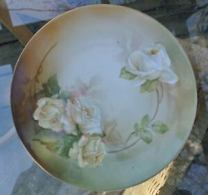 Antique RS Germany Hand Painted with Roses Porcelain 8-1/4 Plate