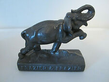 New listing Frazier & Frazier vtg cast iron elephant paperweight 1972 Coolidge Tx advertise