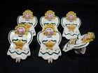 6 NAPKIN RINGS CLAY KILN ANGEL BROWN FACE GOLDEN CURLY LOCKS STAR HALO HOLDERS