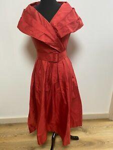 Laura Ashley Vintage Dress UK12/EU38 Silk Terracotta Flared Skirt Shawl Collar