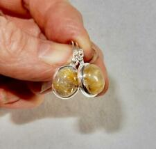 Golden Rutilated Quartz Small Oval Earrings 925 Sterling Silver Clears Blockages