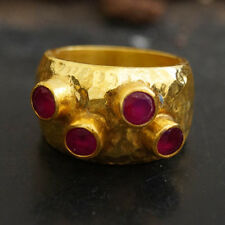 Sterling Silver Bold Collection Wide Ruby Dome Ring 24k Gold Plated Fine Jewelry