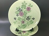 Set of 2 Reverse Painted Floral Dinner Plates Clear Pink Green 10-3/4
