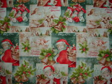 Santa's Face Christmas Cotton Fabric  Nostalgic Look Sold BTHY 44-45 inches wide