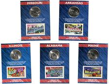 USPS State Quarters, Stamps & Card Set (IL, AL, ME, MO, AK)