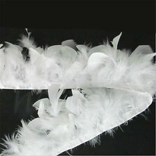 1M White Soft Turkey Feather Fringe Trim for DIY Sewing Millinery Costume Decor