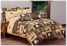 Bass Country Twin Comforter Set w/sheets 5pc Deer Rustic Cabin Plaid Green Brown