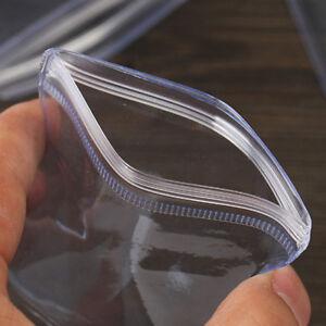 100Pcs Plastic Clear PVC Coin Bag Case Wallets Storage Cover Envelopes 70x50mm