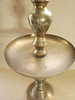 Vintage 1 Brass Candle Holder  Altar Decor Etched Decor Pattern 23'' T