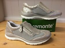 REMONTE Beige Grey METALLIC TRAINERS 41 7.5 Shoes Leather Sparkle Neutral R5305