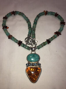 Enchanting Vintage Turquoise Amber And Topaz Neckalce With Sterling Silver