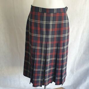 """Laird Portch Scottish Skirt W28"""" Knee Length Navy Red Pleated 100% Wool 161821"""
