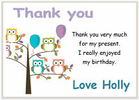 10 Personalised THANK YOU CARDS  & envelopes, thank girls birthday party  OWLS