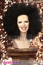 Funky Afro Wig Costume Disco Fro Deep Jet Black
