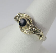 VINTAGE BLACK ONYX WITH  MARCASITE ACCENTS  RING,  SIZE 7.75, STAMPED .925