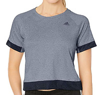 Adidas Women's Logo Boxy Mesh Tee, Ash Grey/Heather, Large