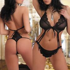 Women Sexy Lingerie Babydoll Lace Dress Bra G-string Sleepwear Nightwear Fashion