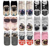 PUGS DESIGN Printed 3D Ankle Socks Low Cut Unisex Cotton Blend Multicolour Sock