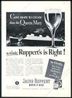 1938 Cunard RMS Queen mary ship Jacob Ruppert Knickerbocker Beer Ale print ad