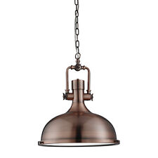 Antique Copper Industrial Ceiling Pendant Light Fitting With Frosted Diffuser