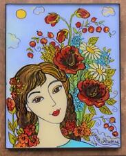 Original Glass Painting, Ukrainian Folk Art, Girl, by Elena Diadenko