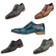 Men's Dress Shoes - Genuine Leather Cap Toe Oxfords, Lace Up Mens Dress Shoes